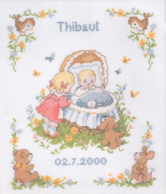 """На сайте stitchart.net я нашла прекрасную схему вышивки """" Малыш в колыбельке """" крестиком.  Так как очень люблю вышивать..."""