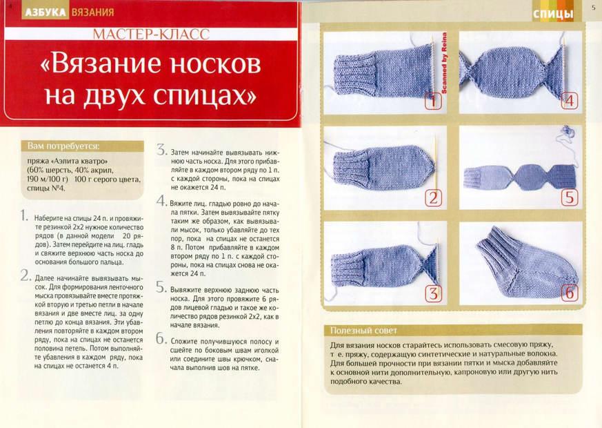 Вязание детского носка на 2 спицах 2