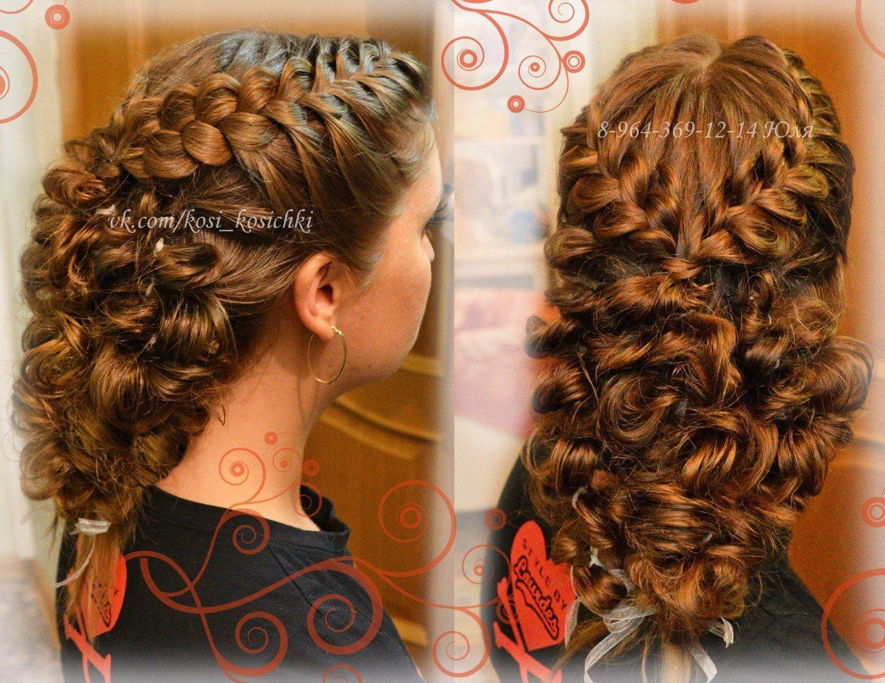 Фото причесок на выпускной на средние волосы косички